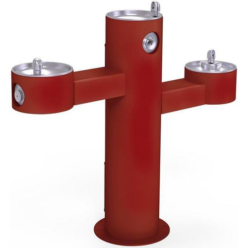 Elkay - Elkay Outdoor Fountain Tri-Level Pedestal Non-Filtered, Non-Refrigerated Red