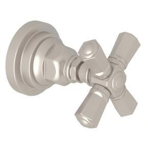 San Giovanni Trim for Volume Control and 4-Port Dedicated Diverter - Satin Nickel with Cross Handle