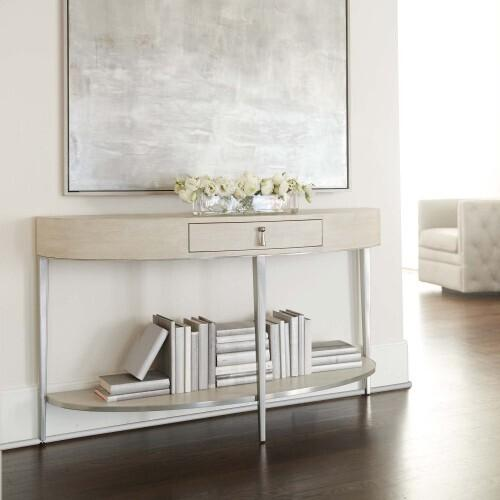 Gallery - East Hampton Demilune Console Table in Cerused Linen (395)