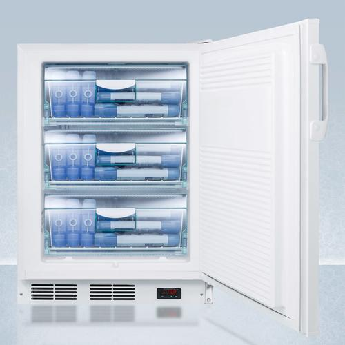 """Summit - ADA Compliant 24"""" Wide All-freezer for Built-in Commercial Use, Manual Defrost With A Thermometer, Lock, and -25 c Capability"""