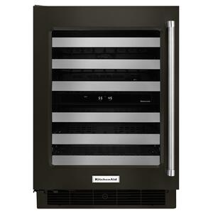"KitchenAid24"" Wine Cellar with Glass Door and Metal-Front Racks Black Stainless Steel with PrintShield™ Finish"
