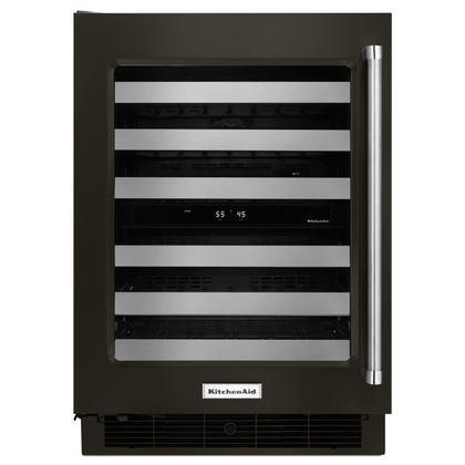 """24"""" Wine Cellar with Glass Door and Metal-Front Racks Black Stainless Steel with PrintShield™ Finish"""