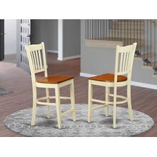 Groton Counter Stools With Wood Seat In Buttermilk and Cherry Finish