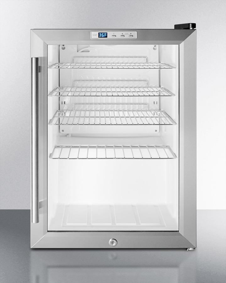 SummitCommercially Approved Countertop Glass Door Refrigerator Designed For The Display And Refrigeration Of Beverages Or Sealed Food, With Black Cabinet, Front Lock, And Digital Thermostat; Replaces Scr310l