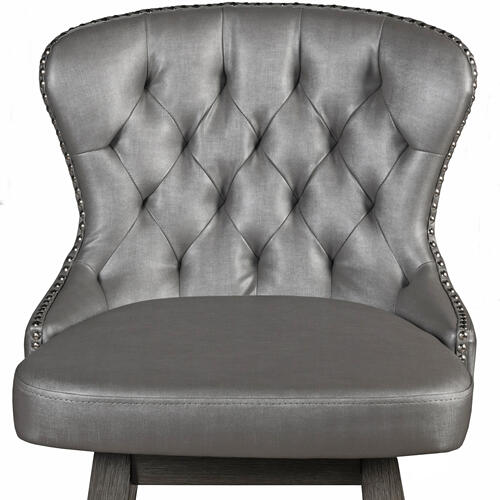 Product Image - Rosabella Wood Swivel Bar Height Stool, Wirebrush Gray