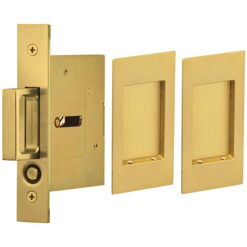 Passage Pocket Door Lock with Modern Rectangular Trim featuring Mortise Edge Pull in (US4 Satin Brass, Lacquered)