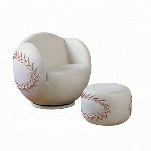 ACME All Star 2Pc Pack Chair & Ottoman - 05528 - Baseball: White
