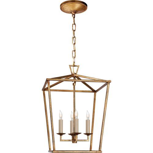 - E. F. Chapman Darlana 4 Light 13 inch Gilded Iron Foyer Lantern Ceiling Light, E.F. Chapman, Small