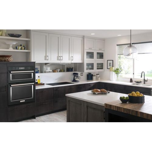 """KitchenAid - 30"""" Combination Wall Oven with Even-Heat™ True Convection (Lower Oven) Black"""