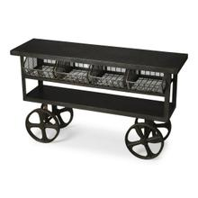 See Details - This industrial chic trolley buffet is an eye-catching addition. Made from cast iron, it features four mesh trays and two shelves Its scale and storage space makes it great for use in many ways - including in the kitchen, living or multi-purpose room, or
