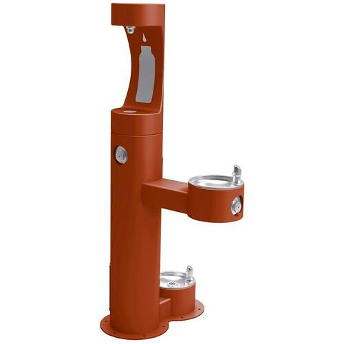 Elkay - Elkay Outdoor EZH2O Bottle Filling Station Bi-Level, Pedestal with Pet Station Non-Filtered Non-Refrigerated Terracotta