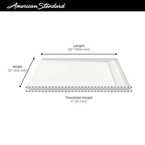 American Standard - Townsend 60x32-inch Solid Surface Shower Base - Right Drain  American Standard - Soft White