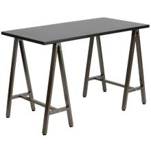 See Details - Black Computer Desk with Brown Metal Frame