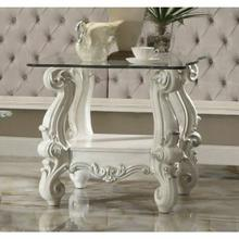 ACME Versailles End Table - 82104 - Bone White & Clear Glass