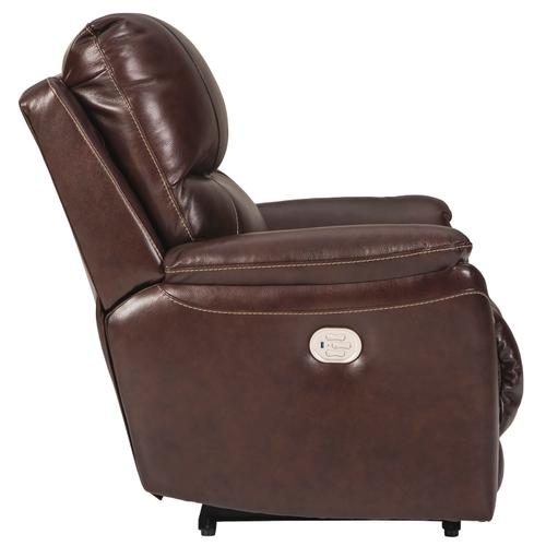 Signature Design By Ashley - Power Leather Recliner with Adjustable Headrest and Lumbar