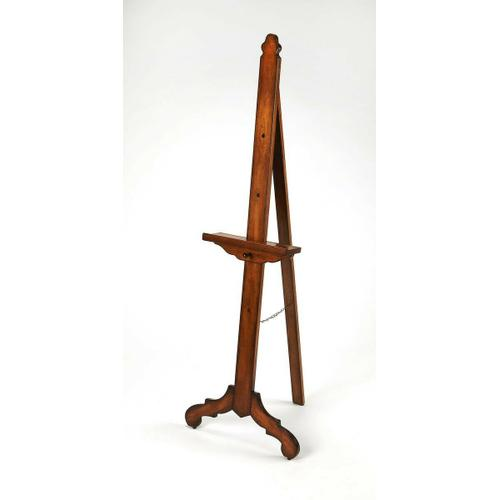 Display cherished photography and artwork on this lovely easel. Crafted from poplar hardwood solids, it features a rich Vintage Oak finish with a height adjustable base along the front support.