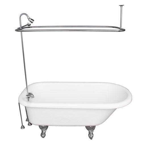 """Andover 60"""" Acrylic Roll Top Tub Kit in White - Polished Chrome Accessories"""