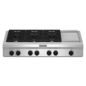 48-Inch 6 Burner with Griddle, Gas Rangetop, Commercial-Style Stainless Steel