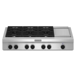 Kitchenaid48-Inch 6 Burner with Griddle, Gas Rangetop, Commercial-Style Stainless Steel