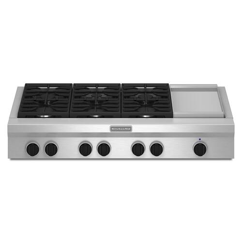 KitchenAid - 48-Inch 6 Burner with Griddle, Gas Rangetop, Commercial-Style Stainless Steel
