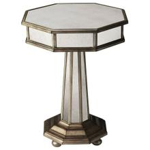 See Details - This Grecian-inspired mirrored accent table will reflect the beauty of your home while adding a natural glow. Expertly crafted from poplar hardwood solids and wood products, its antique mirrored glass panels and fly-specked pewter finish make this silhouette a stunning addition to any transitional living space.