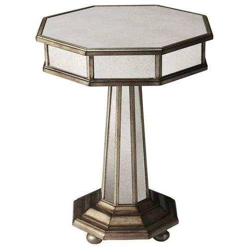 Butler Specialty Company - This Grecian-inspired mirrored accent table will reflect the beauty of your home while adding a natural glow. Expertly crafted from poplar hardwood solids and wood products, its antique mirrored glass panels and fly-specked pewter finish make this silhouette a stunning addition to any transitional living space.
