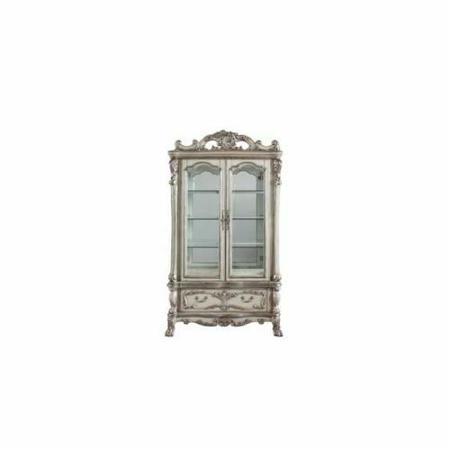 ACME Dresden Curio Cabinet - 68182 - Traditional, Vintage - Wood (Poplar), Wood Veneer, Poly-Resin, Glass, Mirror - Vintage Bone White