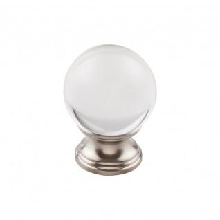 Clarity Clear Glass Knob 1 3/8 Inch - Brushed Satin Nickel