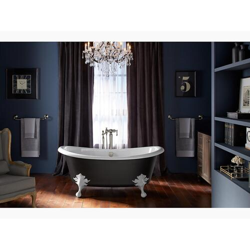"""White 66"""" X 33"""" Freestanding Bath With Iron Black Exterior"""