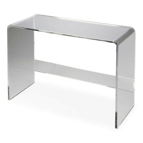 Butler Specialty Company - This clear acrylic console table is a stylish addition in any modern living room, hallway or entryway. Display framed photos or other cherished items on top with room for a small stool or baskets below. Constructed entirely from transparent acrylic, it boasts waterfall-edge sides and a stretcher for added stability.