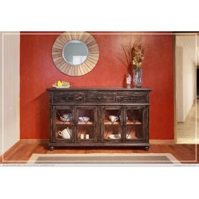 """See Details - 70"""" Console 3 Drawer, 4 Doors - Charcoal finish"""