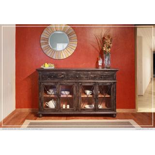 """70"""" Console 3 Drawer, 4 Doors - Charcoal finish"""