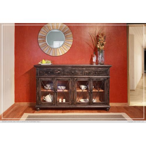 "70"" Console 3 Drawer, 4 Doors - Charcoal finish"