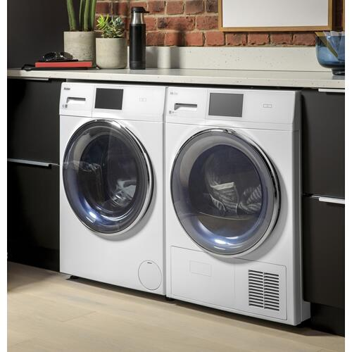 "4.1 cu.ft. Capacity Smart 24"" Ventless Condenser Frontload Electric Dryer with Stainless Steel Basket"