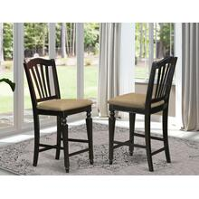 "Chelsea Stools with upholstered seat, 24"" seat height in Black Finish"