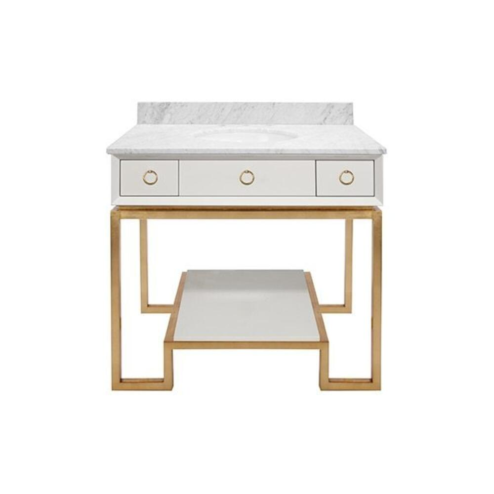 This Stunning Hollywood Regency Vanity Will Elevate the Style of Any Bath or Powder Room. Elegant Gold Leaf Shimmers On A Classic Greek Key Base and Contrasts Beautifully With Its Pristine White, Glossy Lacquer Case and Shelf. gold Ring Pendant Hardware Adorns Soft Close Drawers. the Counter Top - Made of Luxurious White Carrara Marble - Includes Matching, 4 Inch Marble Backsplash (included But Not Attached) and White Porcelain Sink. Owen Is Sophisticated, Timeless, and Classic.
