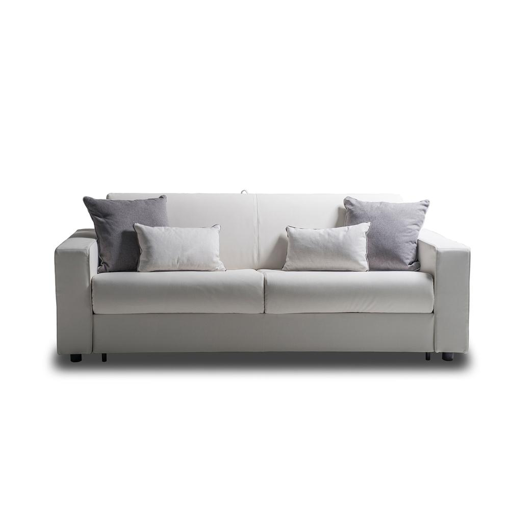 The Reserve Queen Size Sofa Bed In White Top Grain Pu Leather And Black Feet