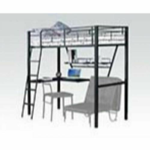 ACME Senon Loft Bed w/Desk - 37275 - Silver & Black