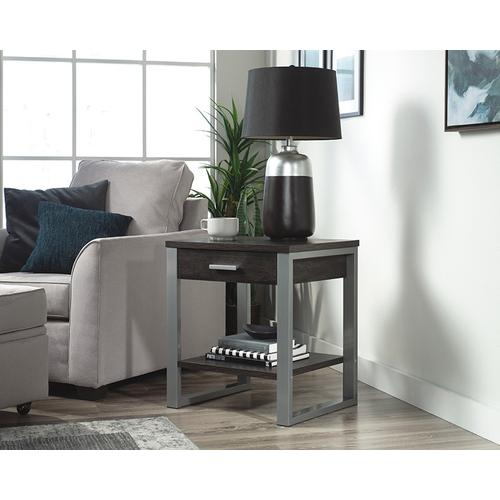 Contemporary Metal & Wood 1-Drawer Side Table