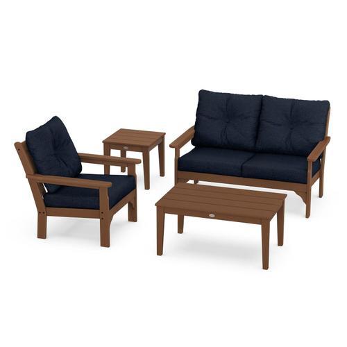 Vineyard 4-Piece Deep Seating Set in Teak / Marine Indigo