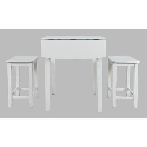 Jofran - Eastern Tides Dropleaf Counter Table W/(2) Backless Stools