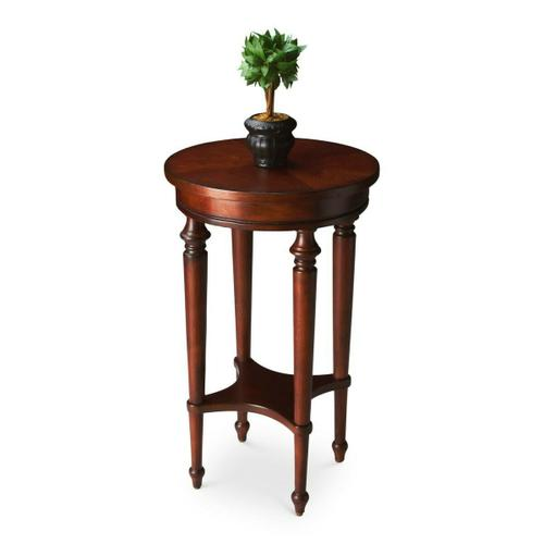 Butler Specialty Company - Elegance and versatility make this table a great addition to virtually any space. Featuring a lightly distressed, hand rubbed cherry finish, it is crafted from select hardwood solids and wood products with a lower display shelf and a four-way matched cherry veneer top.
