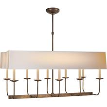 E. F. Chapman Linear Branched 10 Light 36 inch Hand-Rubbed Antique Brass Linear Pendant Ceiling Light in Long Natural Paper