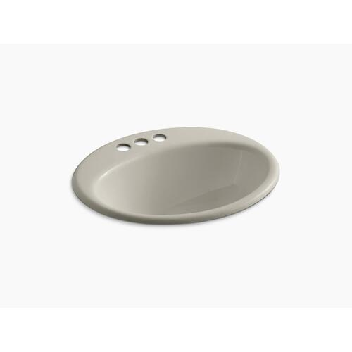 "Sandbar Drop-in Bathroom Sink With 4"" Centerset Faucet Holes"
