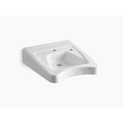 """White 20"""" X 27"""" Wall-mount/concealed Arm Carrier Wheelchair Bathroom Sink With Single Faucet Hole and Right-hand Soap Dispenser Hole"""