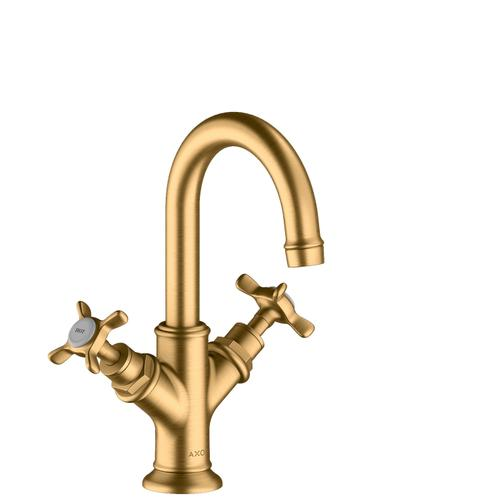 Brushed Brass 2-handle basin mixer 160 with cross handles for hand washbasins with pop-up waste set