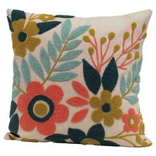 """See Details - 18"""" Square Woven Cotton Floral Pillow w/ Embroidery, Multi Color"""