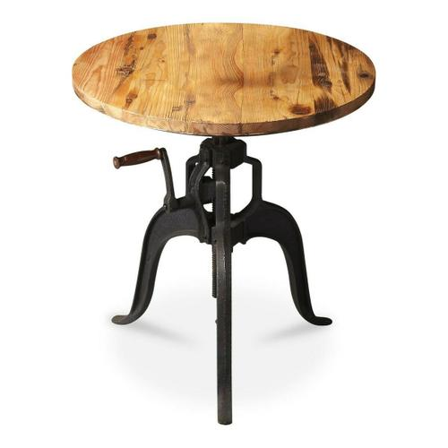 This industrial styled table is reminiscent of an ice cream churn from yesteryear, the crank handle adjusts the tabletop height for great convenience and flexibility. The base is crafted from solid iron, and it features a distressed recycled wood top.