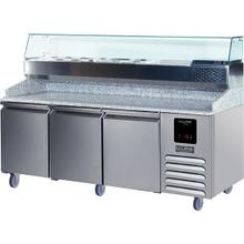 See Details - 3 Door Pizza Prep-table Refrigerator + Condiment Rail With Stainless Solid Finish (115v/60 Hz Volts /60 Hz Hz)