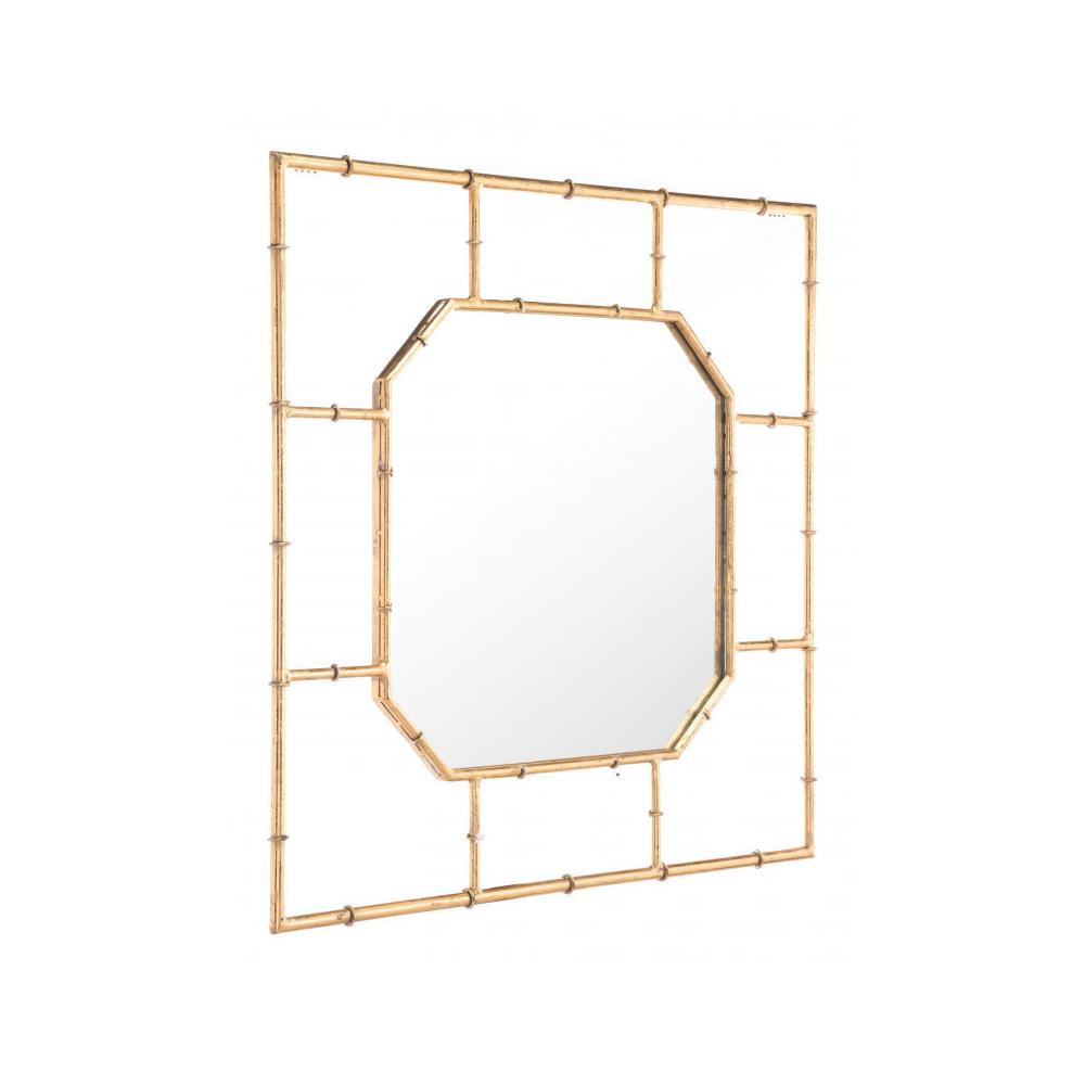 See Details - Bamboo Square Mirror Gold